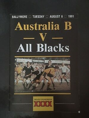 3725 - ALL BLACKS 1991 tour: Australia B v New Zealand Rugby Programme 06/08
