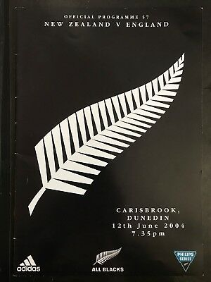 3108 - New Zealand v ENGLAND 2004 Rugby Programme 12th June All Blacks 12/06