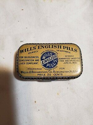 Vintage Wills' English Pills Tin 1906
