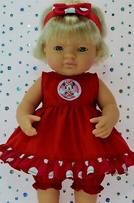 Dolls Clothes For 38cm Miniland Doll RED DRESS~BLOOMERS~HEADBAND