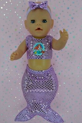 "Play n Wear Dolls Clothes To Fit 17"" Baby Born LILAC SEQUIN MERMAID~HEADBAND"