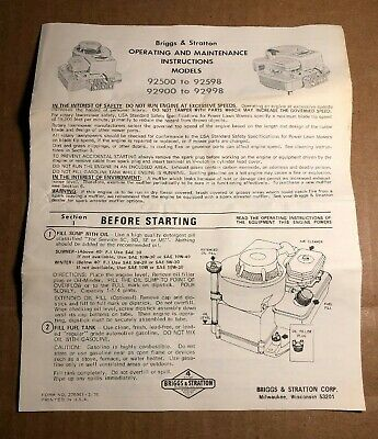 Briggs & Stratton   Operating and Maintenance Instructions   Models 92500-92598