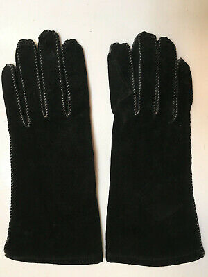 Genuine leather black suede ladies gloves size 7 never been used BNWOT