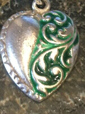 Vintage 40's Sterling LARGE Puffy Heart Charm: Not Puffy But Solid, Green Enamel