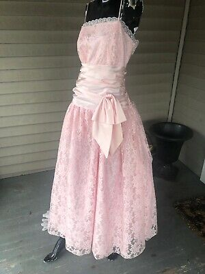 80s  /  90's Vintage Prom Dress Sz S/M PRETTY IN PINK! Selling AS-IS For FUN!