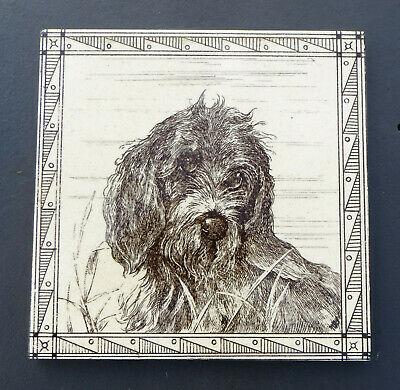 "Minton, Hollins & Co 6"" Transfer Printed Tile - Deerhound Dog with Border, Cream"