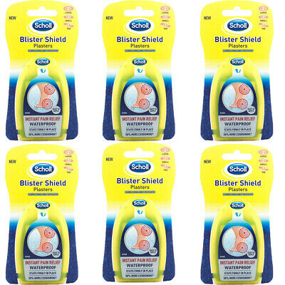 6 X Scholl 5S Blister Shield 5 Plasters Pain Relief Water Proof 50% Cushioning