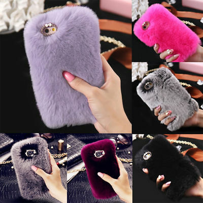 Stylish Warm Soft Faux Furry Fur Diamond Phone Case Cover For iPhone XS MAX XR