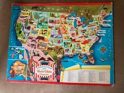 VINTAGE 1968 WHITMAN A Picture Map Puzzle of the United ...