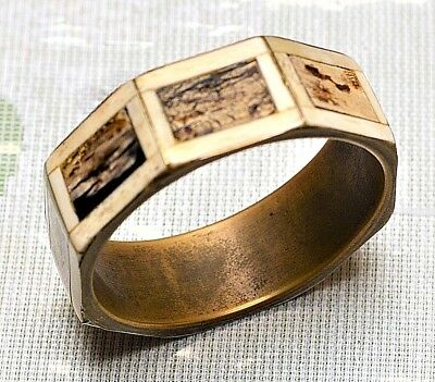 Vtg Huge Chunky 50's Antique Solid Brass Bone Wood? Wide Octagon Bangle Bracelet