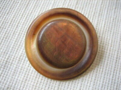 "Vintage Med 1-1/8th"" Carved 2 Tone Mother Of Pearl MOP Shell Button - PD89"