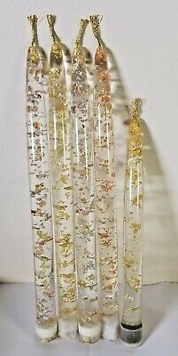 """Set of 5 Mid Century Lucite Acrylic Candles with Gold Flakes  10"""" & 8"""" Tall"""