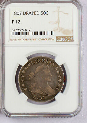 1807 Draped Bust Half Dollar, NGC Fine 12. A fantastic early American Type Coin!
