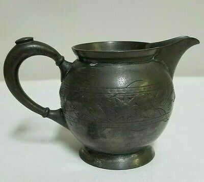 Vtg Creamer Silver Plate Meriden B Company 1850 Pitcher Etched Floral Antique