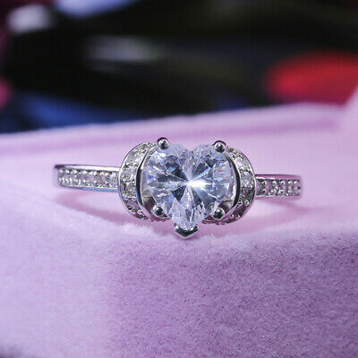 Heart 925 Silver Engagement Ring for Women White Sapphire Rings Set Size 6-10