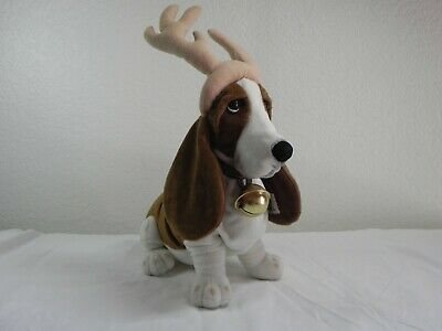 Applause Holiday Hush Puppy Basset Hound Reindeer Antlers Jingle Bell Collar