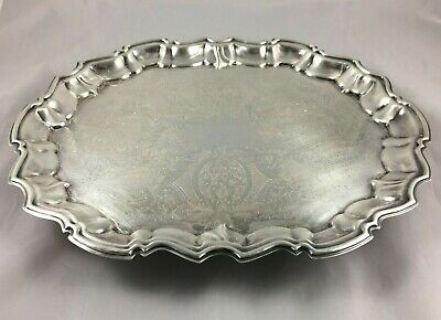 "Vintage English Silver Mfg Co Leonard 14.5"" Footed Butler's Serving Vanity Tray"