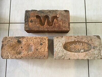 ~ 3 x Old Sandstock Bricks - Campbell - W - Convict/Early Era ~