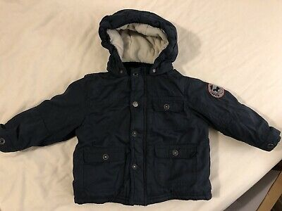 Vertbaudet Baby Boys Hooded Warm Coat Age 24 Months Blue