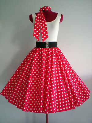 "ROCK N ROLL/ROCKABILLY ""Spots"" SKIRT & SCARF S-M Red/White Spots"