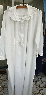 OLD ANTIQUE Victorian Edwardian style full length White cotton nightdress Large