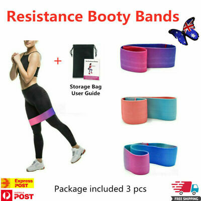 3pcs Resistance Booty Bands - Hip Circle Loop Bands Set Workout Exercise Guide