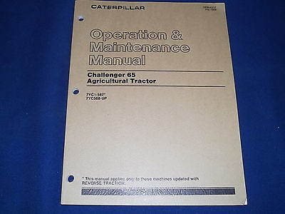 Cat Caterpillar 65 Challenger Tractor Operation & Maintenance Manual S/N 7Yc1-Up