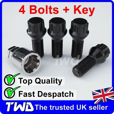 4x WHEEL LOCKING BOLTS - NISSAN QASHQAI (2013+) M12x1.5 NUT ALLOY BLACK LUG [Tb]