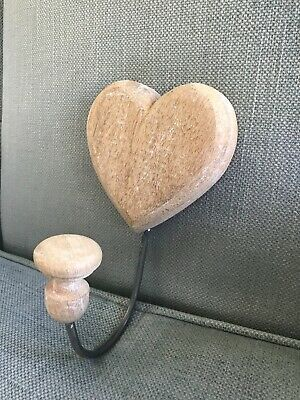 Coat Hook, Limed Oak and Wrought Iron, Heart Shaped, Brand New.