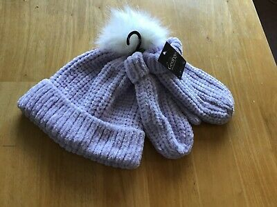 George Girls Lilac  lovely Hat & mittens set. age 4-8 years NEW
