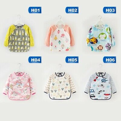 Children's Waterproof Sleeved Bibs Baby Toddler Bib Feeding Smock Bibs Apron New