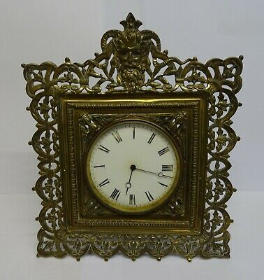 Antique French Heavy Steel & Gilded E G L 8 Day Mantle Clock ( Not Working ).