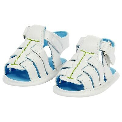 ABSORBA Baby Boy White soft crib sandals with velcro fastening 17/18 6mth