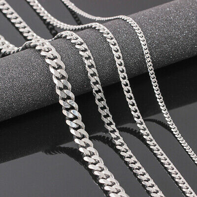 Men's Boy Stainless Steel Silver  Curb Chain Necklace Jewelry 3.5/5/7mm 18/30""