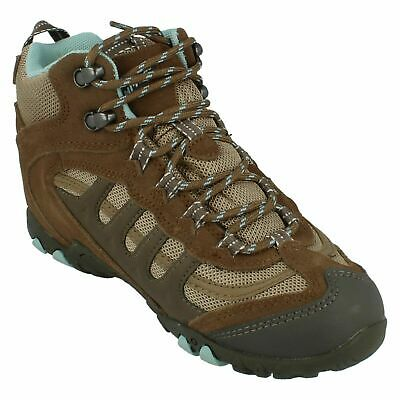 Hi-tec Womens UK 4-8 Penrith Mid WP Lace Up Walking Hiking Boots Brown/Blue