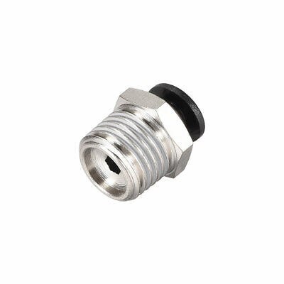 Straight Pneumatic Push to Quick Connect Fittings 1/4NPT x 4mm OD Silver Tone
