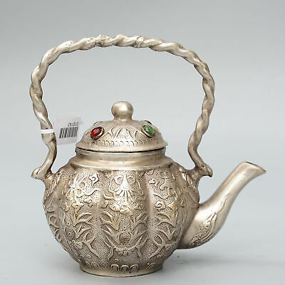 Collectable China Old Miao Silver Inlay Zircon Carve Bloomy Flower Noble Tea Pot