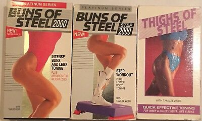 Lot Of 3 VHS: Tapes Buns Of Steel 2000 & Thighs Of Steel Exercise Videos T. Webb