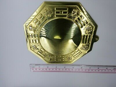 Chinese Feng Shui Taoist Real Brass Big Bagua Mirror Concave & Flat Side 18 cm