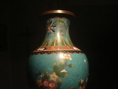 (Pair) Qing Era - Chinese Cloisonne Vases - Blue with Lotus, Flowers, Arabesque