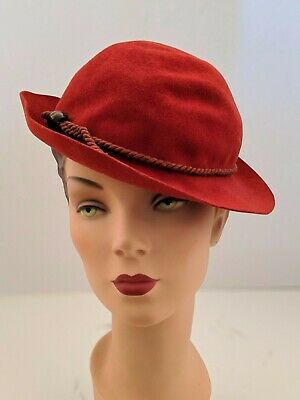 PARAMOUNT STUDIOS Vintage 30s Red Tilt Hat Old Hollywood Pin-up Chic Designer
