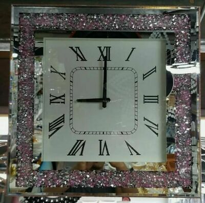 Round Sparkly Diamond Silver Crush Crystal Silver Mirrored Roman Wall Clock 46CM