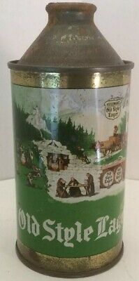 Vintage Heileman's Old Style Lager Cone Top Beer Can 1937 Monks Nice!