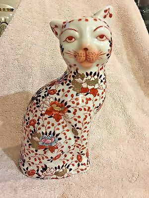 Chinese Cat seated Imari Enamel Porcelain statue marked hand paint Tang China