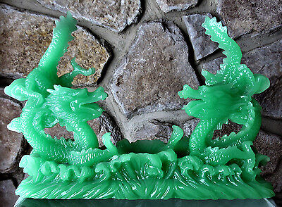 JADE COLOR Feng Shui Dragon Figurine Statue for Luck & Success (E12)