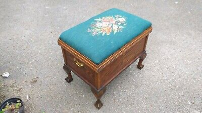 Antique Large Tapestry Top Chest/ Stool Blanket Box Cabriole Leg Ball Claw Foot