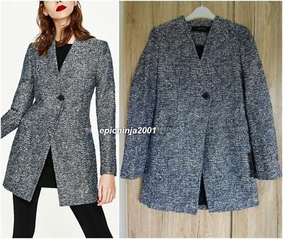Zara Navy Ecru Fitted Longline Jacket Coat With Crossover Front Size S Uk 8