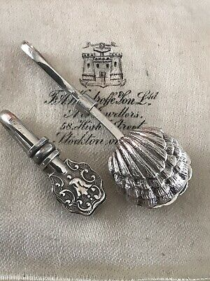 Vintage/Victorian Style Sterling Silver Small & Large Novelty Shell Napkin Clip
