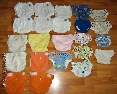 Pre-Owned Lot Of 23 Reusable Cloth Diaper,Diaper Covers,Various Sizes