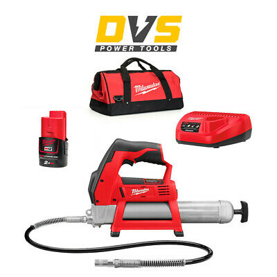 Milwaukee M12GG-0 M12GG-201B 12V M12 Cordless Grease Gun 1 x 2Ah M12B2 Battery